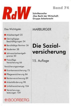 Die Sozialversicherung Taschenbuch – 31. März 2005 Horst Marburger Boorberg R 3415035263