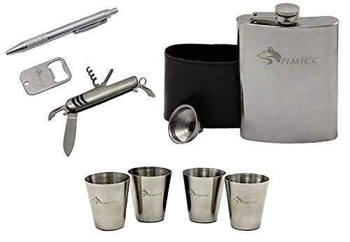 fimicc Flask Gift Set ; 8OZ - Stainless Steel and PU Leather Sheath - Funnel - 4 Shot Glasses - Bottle Opener Keychain - Corkscrew Pocket Knife and Pen (Silver) ()