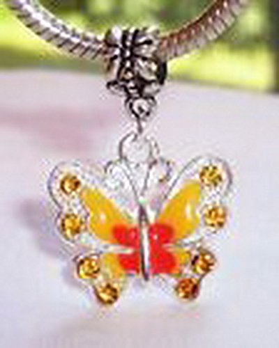 Glamorise Beads #14308 Butterfly Orange Peach Enamel Rhinestone Dangle Bead for European Charm Bracelet