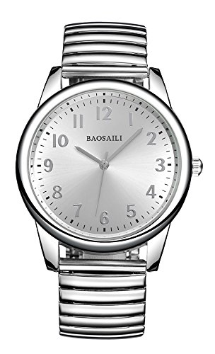 Expansion Band (BAOSAILI Men's Easy Reader Expansion Band Watch (Silver-A))