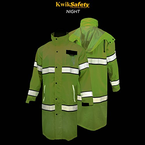 KwikSafety (Charlotte, NC) TORRENT Class 3 Safety Trench Coat | High Visibility Waterproof Windproof Safety Rain Jacket | Hi Vis Reflective ANSI Work Wear | Rain Gear Hideaway Hood Carry Bag | Large by KwikSafety (Image #5)