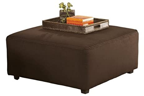 Ashley Furniture Signature Design   Cowan Oversized Accent Ottoman    Contemporary Fabric Upholstery   Café Brown