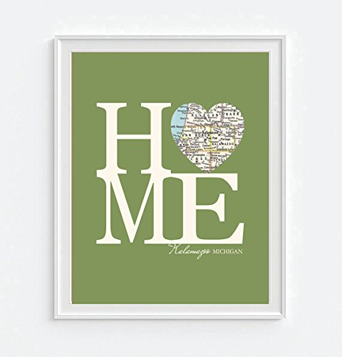 Kalamazoo Michigan Home Vintage Heart Map Art Print, for sale  Delivered anywhere in USA
