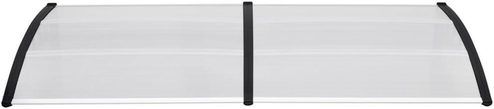 vidaXL T/ürvordach Haust/ürdach /Überdachung T/ürdach Pultvordach Vordach Haust/ür T/ür Dach Haust/ürvordach Schwarz 300x100cm PC Aluminiumleisten