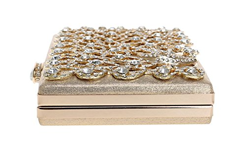 Las Los Embrague Bolso Gold Señoras color Gold Banquete Noche Cvthfyk De Boda Del Real Pavo Diamantes qazpCxwtB