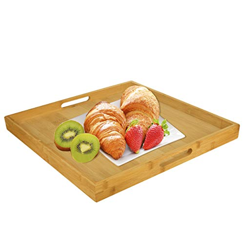 Big Bamboo Serving Trays Set with Handles | Wood | Food | Breakfast Tray,15.715.7inches