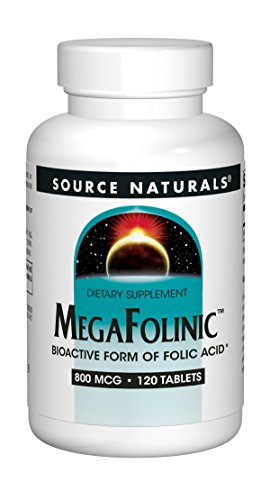 Source Naturals MegaFolinic 800mcg Bioactive Folic Acid, Brain & Cell Health - 120 Tablets