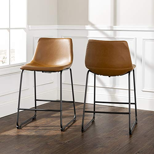 "Walker Edison Furniture Company 26"" Industrial Faux Leather Armless Indoor Kitchen Dining Chair Stool with Metal Legs Upholstered, Set Of 2, Whiskey Brown"