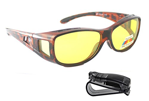 Fit Over HD Night Vision Driving Glasses Anti Glare polarized +car clip - You Glasses Can Get Polarized Prescription