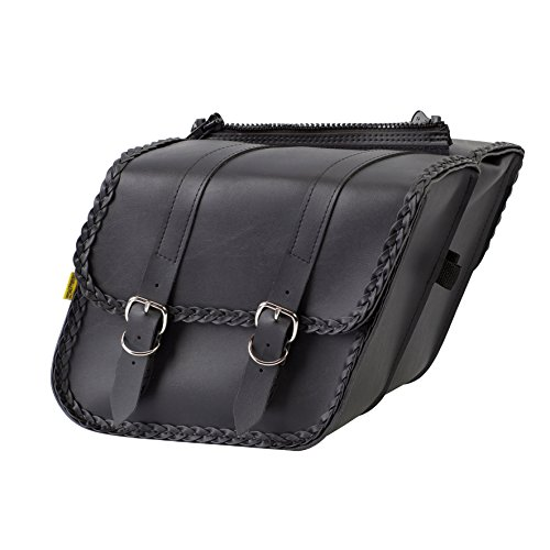 Dowco Willie & Max 58707-20 Braided Series: Synthetic Leather Compact Slant Motorcycle Saddlebag Set, Black, Universal Fit, 10 Liter Each/20 Liter Total Capacity