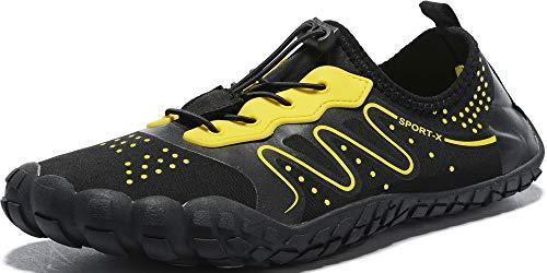 Ebu GoGo Mens Womens Water Shoes Quick Dry Barefoot for Swim Diving Surf Aqua Sports Pool Beach Walking Yoga (black2 46)