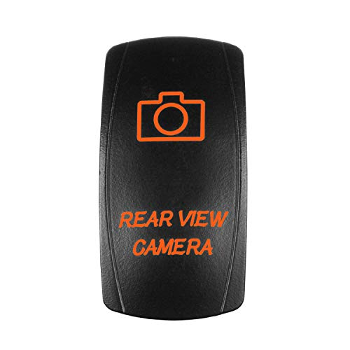 STVMotorsports 5 Pin Laser Automotive Rocker Switches On/Off LED Light 12V 20A - Interior Accessories Car, Truck, UTV, ATV, Utility Off-Road Vehicles (Rear View Camera, Orange)