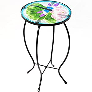 CEDAR HOME Side Table Outdoor Garden Patio Metal Accent Desk with Round Hand Painted Glass, Blue