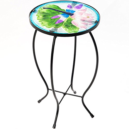 Side Table Outdoor Garden Patio Metal Accent Desk with Round Hand Painted Glass by CEDAR HOME, Blue (Sofa Glass Round)