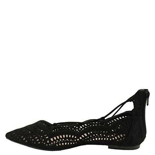 Qupid Strike 02X Womens Perforated Pointy Toe Lace Up Flats Black v1zmcfWv