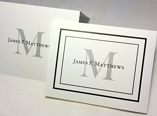 Name Personalized Note Card Stationery - 50 Personalized Note Cards with Envelopes. Add an Initial and Full Name. Choose with Border or Without Border. Cards Fold. Blank Inside