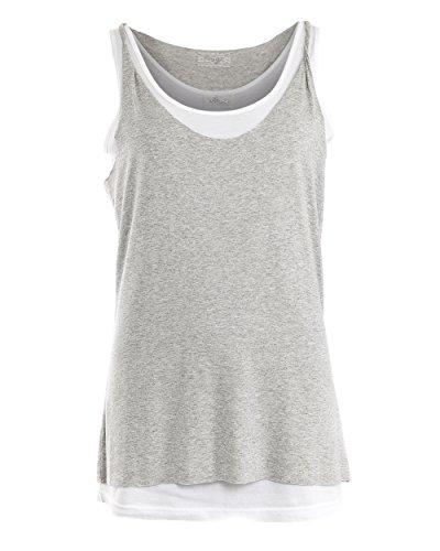 MAZE Damen, Shirt MSH1-61-106 Top tailliert Lagenlook grau weiss S-XL