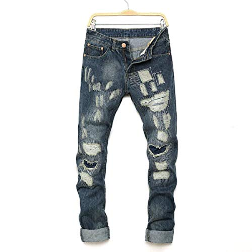 Denim Casual Blu Fashion Fit Elasticizzati Vita Da Retrò Strappati Media Uomo Jeans Pantaloni Slim A Ragazzo 6ndZ76OF