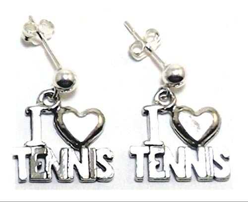 Pewter ''I Heart Tennis'' Charms on Sterling Silver Ball Post Stud Earrings - 5397 for Jewelry Making Bracelet Necklace DIY Crafts ()