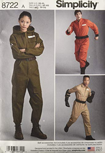 Simplicity 8722 Teen and Adult Coverall Costume Sewing Pattern, Sizes XS-XL -