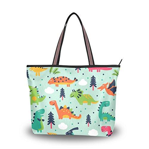 (Shoulder Bag Cute Dinosaurs Cartoon Printing Handbag Totes Purses for Women )