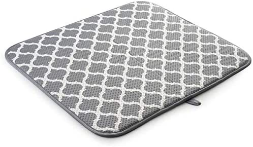 Amazon Com Srenta 18 X 16 Microfiber Dish Drying Mat Super Absorbent Dish Drainer Kitchen Pad With Hanging Loop Gray Trellis Kitchen Dining