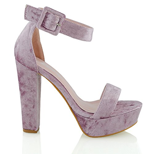 Heel Strap Block Womens Sandali Scarpe Pink Crushed Donna Pastel Ankle Platform Sole Chunky Velvet n5gwxCqY0w