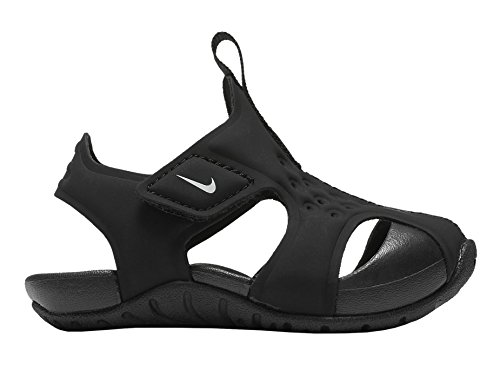 (NIKE Toddler Boy's Sunray Protect 2 Sandal, Black/White, 4C)