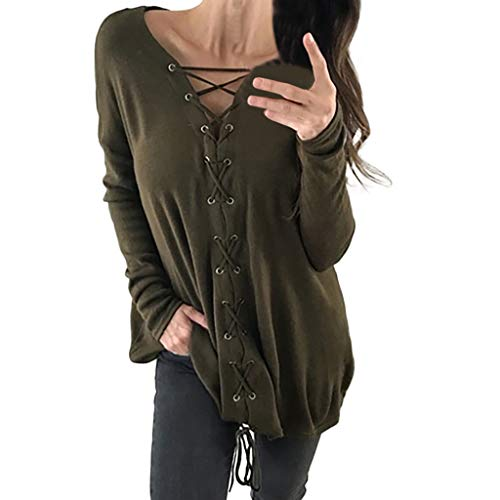 (Sunhusing Women's V-Neck Cross Bandage Strap Long Sleeve Pullover Top Loose Casual Solid Color T-Shirt Army Green)