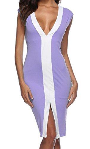 Coolred-femmes Couleur Sort Cou De Mode V Profond Découpé Robe De Soirée Ourlet Irrégulier Violet