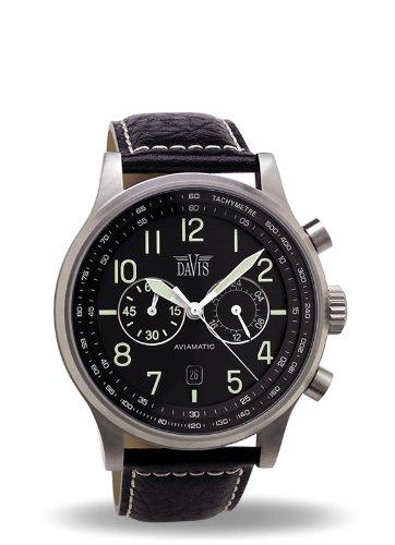 a1646ed0b139 Davis 1020 - Reloj Hombre Aviador 42mm - Cronógrafo Sumergible 50M - Correa  de Piel Negro con pespunte  Amazon.es  Relojes