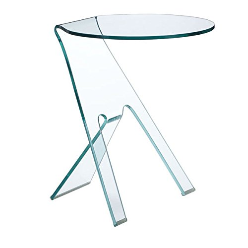 Journey Side Table in Glass Finish, Clear (Rectangular Table Side Glass)