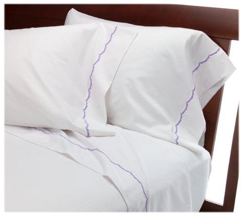 UPC 089769371873, Wamsutta Pure Scallop Twin Flat Sheet, White/Lavender