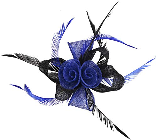 Fascinators Hat for Women Kentucky Derby Flower Mesh Feather Headband with Hair Clip Wedding Cocktail Tea Party-Flower Navy Blue Black