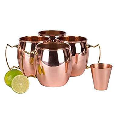 A29 Moscow Mule Solid 100 % Pure Copper Unlined Mug / Cup, Set of 4 (16-Ounce/Set of 4, Smooth) with BONUS Shot Glass and Free Recipe Booklet