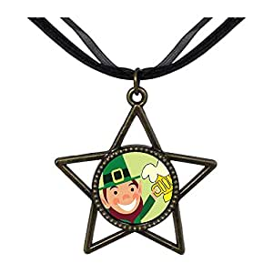 Chicforest Bronze Retro Style St. Patrick's Day Theme beer Five Pointed Star Pendant