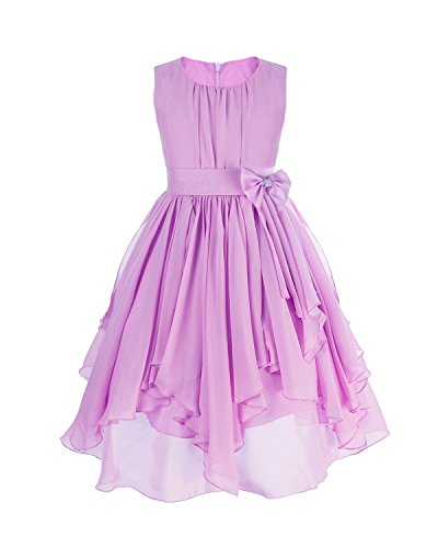 FEESHOW Kids Big Girl Asymmetric Chiffon Flower Wedding Bridesmaid Party Dress Purple 14 (Teen Christmas Dress)
