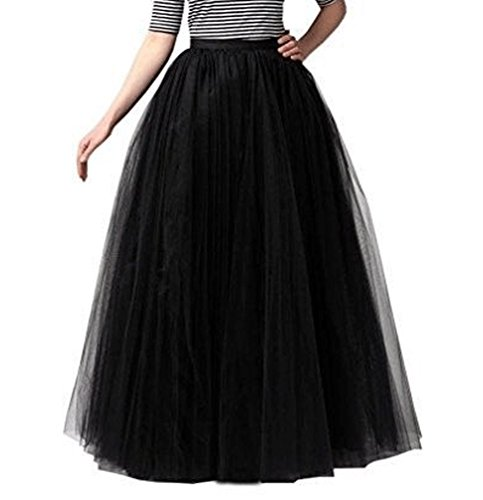 928 - Plus Size Long Maxi A-Line Tutu Tulle Wedding Skirt (2X, Black)]()