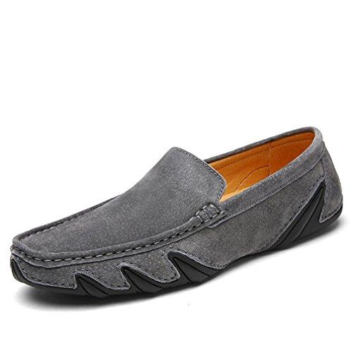 Hishoes Hommes Suède Cuir Mocassins Décontractée Conduite Bateau Chaussures Penny Loafers Chaussures de Ville Flats Gris1 r2iyfqs1X