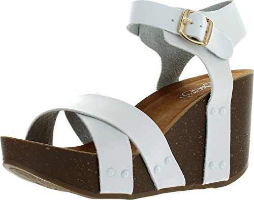 Refresh Mara-05 Womens Ankle Strap Comfort Criss Cross Platform Wedge Sandals,White,7