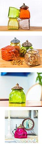 SOCOSY Vintage Crystal Glass Candy Jar with Lid Food Jar Nut Jar Jewelry Box Wedding Candy Buffet Jars Kitchen Storage Jar Assorted Color by SOCOSY (Image #5)