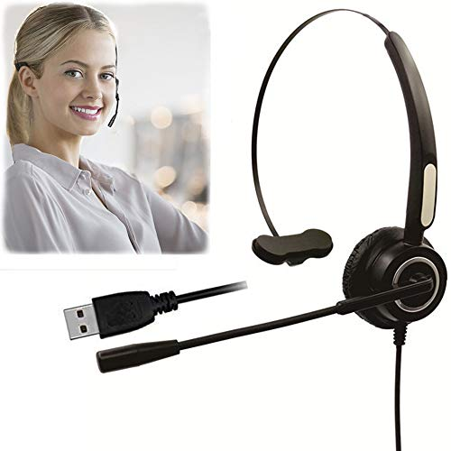 Mic Call Center - CALLANY Computer USB Headset Over-The-Head Hands-Free Wired Headphone with Noise Cancelling Mic- Business Headset for Call Center (VH510 USB Monaural Headset)