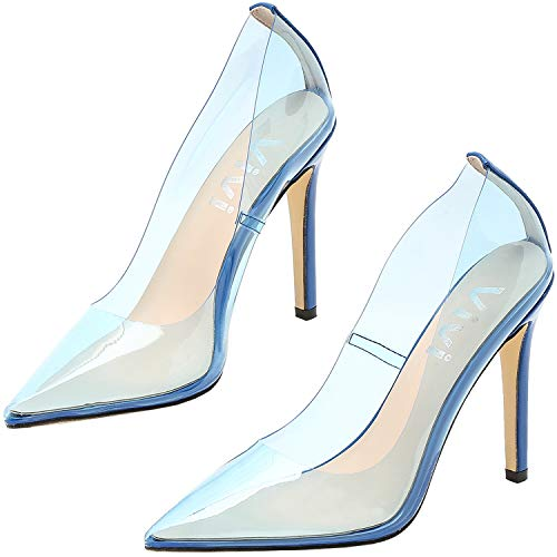 Vivi Fashion High Heel Pointed Toe Premium Nude Clear Heels
