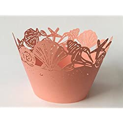 12 pcs Seashell Sea Lace Cupcake Wrappers Wrapper for Standard Size Cupcake Liners (Choose Color) Seashells Ocean Shells (Peach Coral)
