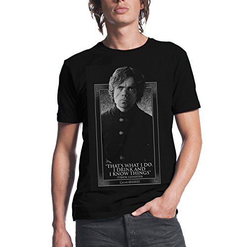 Game of Thrones Tyrion I Drink and I Know Things Mens Black T-shirt