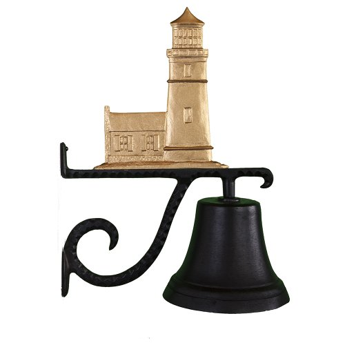 Montague Metal Products Cast Bell with Gold Cottage Lighthouse -