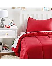 AmazonBasics Easy-Wash Microfiber Kid's Comforter and Pillow Sham Set - Twin, Red