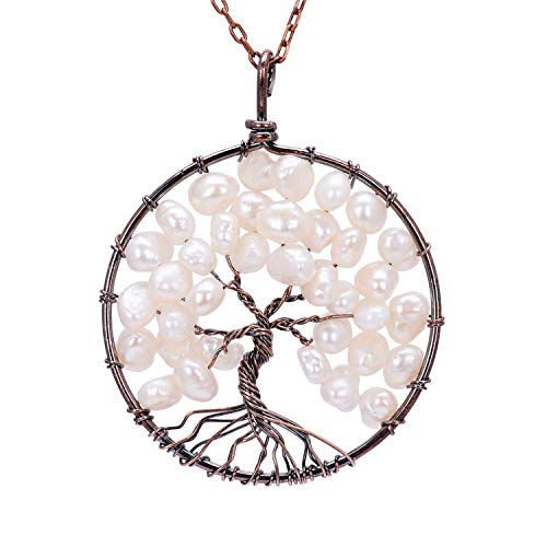 (Handmade White Pearl Tree of Life Pendant Family Tree Necklace Ancient Copper Root Gemstone Jewelry)
