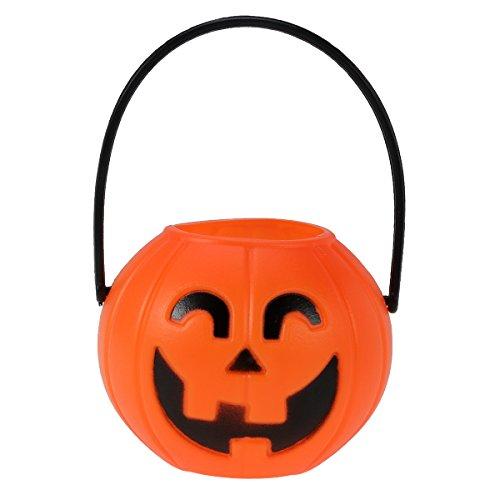 (BESTOYARD 7cm Halloween Portable Pumpkin Bucket Children Trick or Treat Pumpkin Candy Pail Holder)
