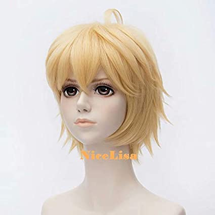 Nicelisa parrucca corta bionda pre-acconciata per travestimenti party cosplay da personaggio maschile dei manga